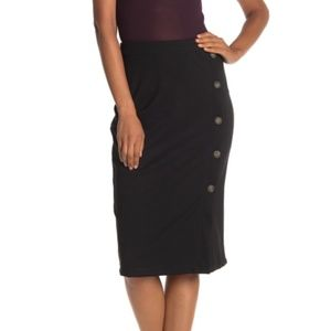 14th & Union Women's Ponte Button Wrap Midi Skirt